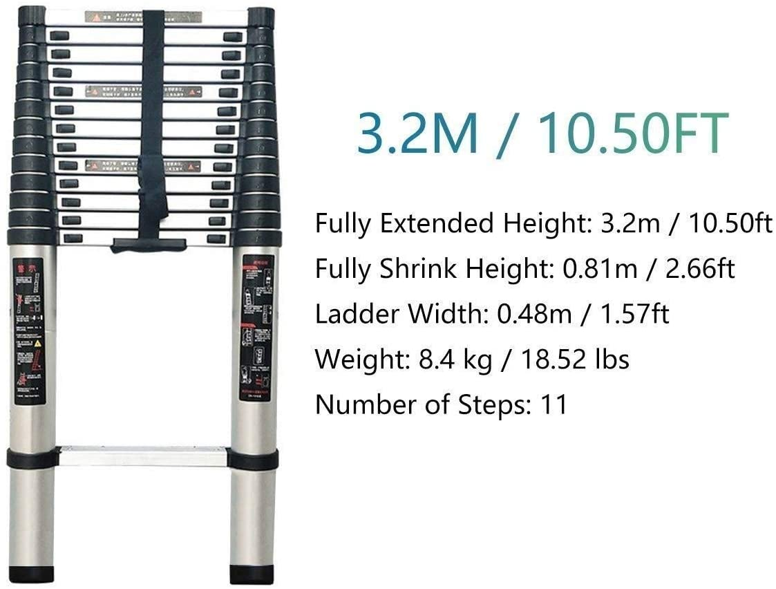 WWY Telescoping Ladder Telescoping Climb Ladder - Aluminum Telescopic Extension Multi Purpose Ladder with Spring Loaded Locking Mechanism, Non-Slip, Supports 150kg (Size : 3.2m)
