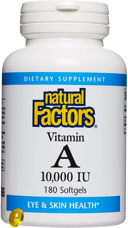 Natural Factors, Vitamin A 10,000 IU, Supports Healthy Bones, Teeth, Vision and Skin, 180 softgels (180 servings)