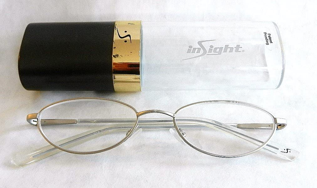 +1.50 Insight Quality Pewter Wire Frame Reading Glasses w/ Hard Case (191) + FREE Bonus Micro-suede Cleaning Cloth