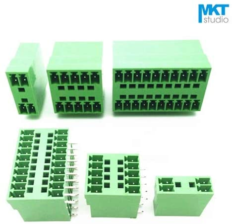 Onvas 100Pcs 24P 3.81mm Pitch Double Deck Right Angle Pin Male Pluggable PCB Electrical Screw Terminal Block 2x12P
