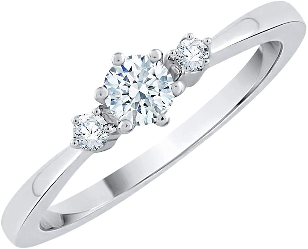 KATARINA Prong Set 3 Diamond Promise Ring in Sterling Silver (1/4 cttw, G-H, I2-I3)