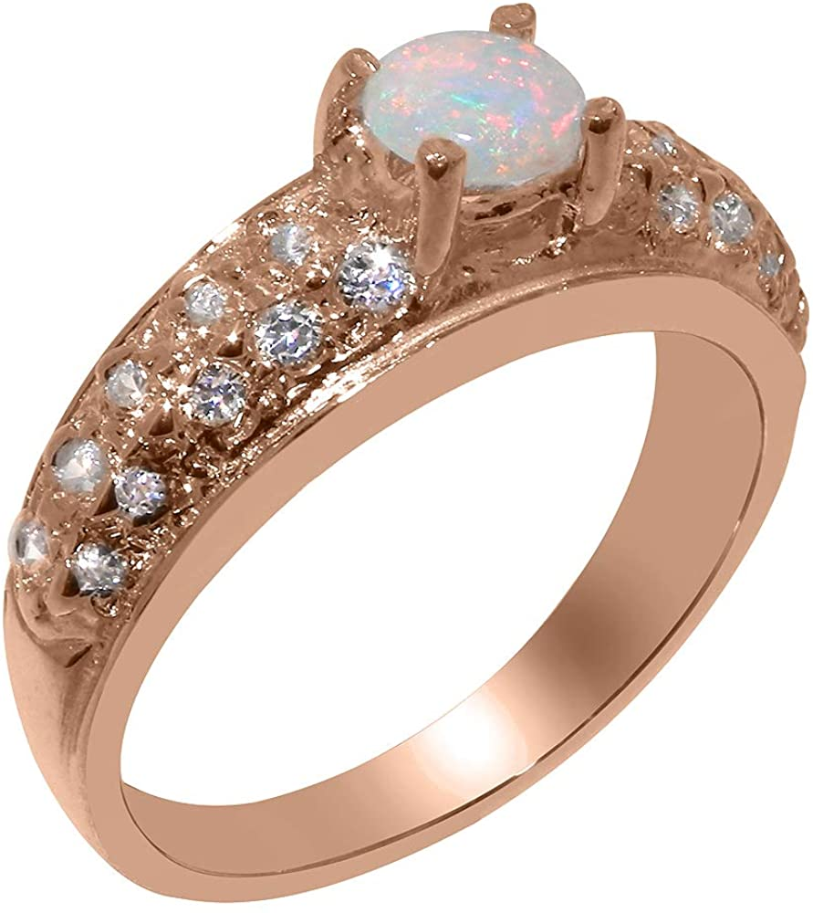 Solid 10k Rose Gold Natural Opal & Diamond Womens Band Ring - Sizes 4 to 12 Available