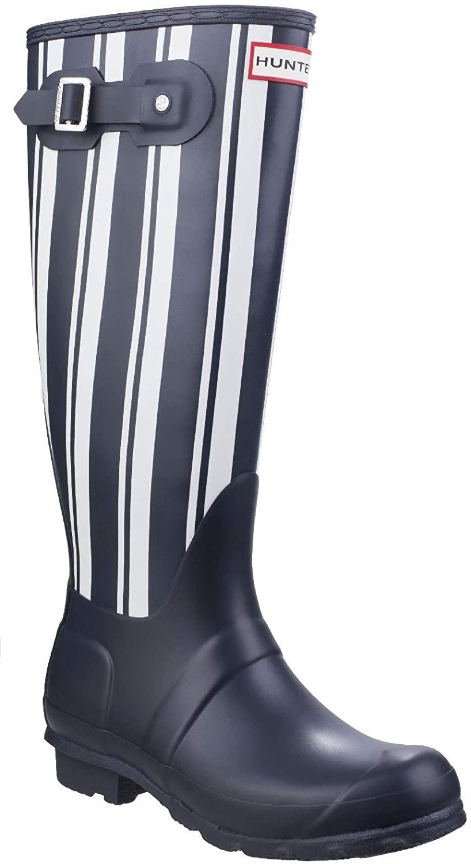 HUNTER Original Garden Stripe Tall Rain Boots Navy/White 6