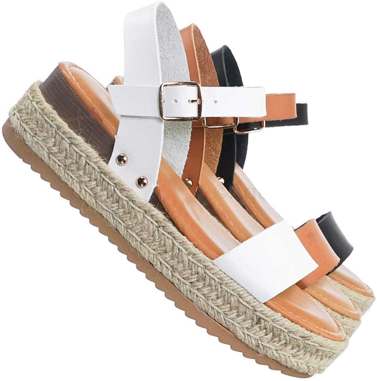 Vintage Espadrille Jute Braided Flatform - Women Flat Platform Sandal