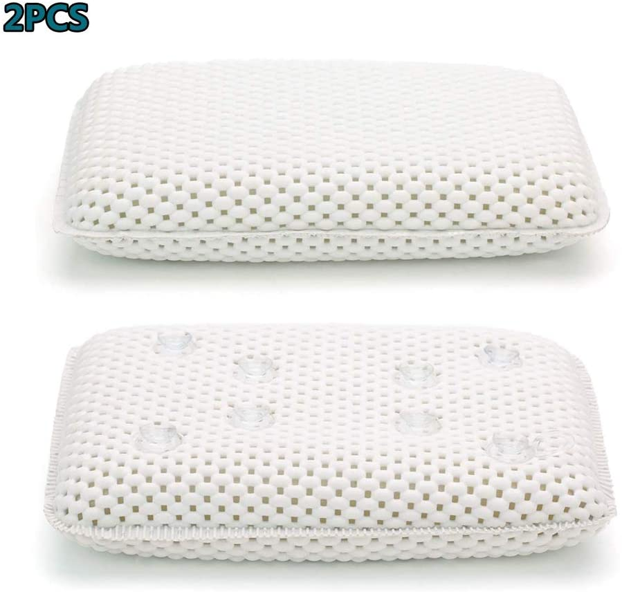 VBARV Tub Bath Pillow with Suction Cups, Spa Pillow Rest,Machine Washable,for Tub Neck and Head Support,Fits All Bathtub and Home Spa