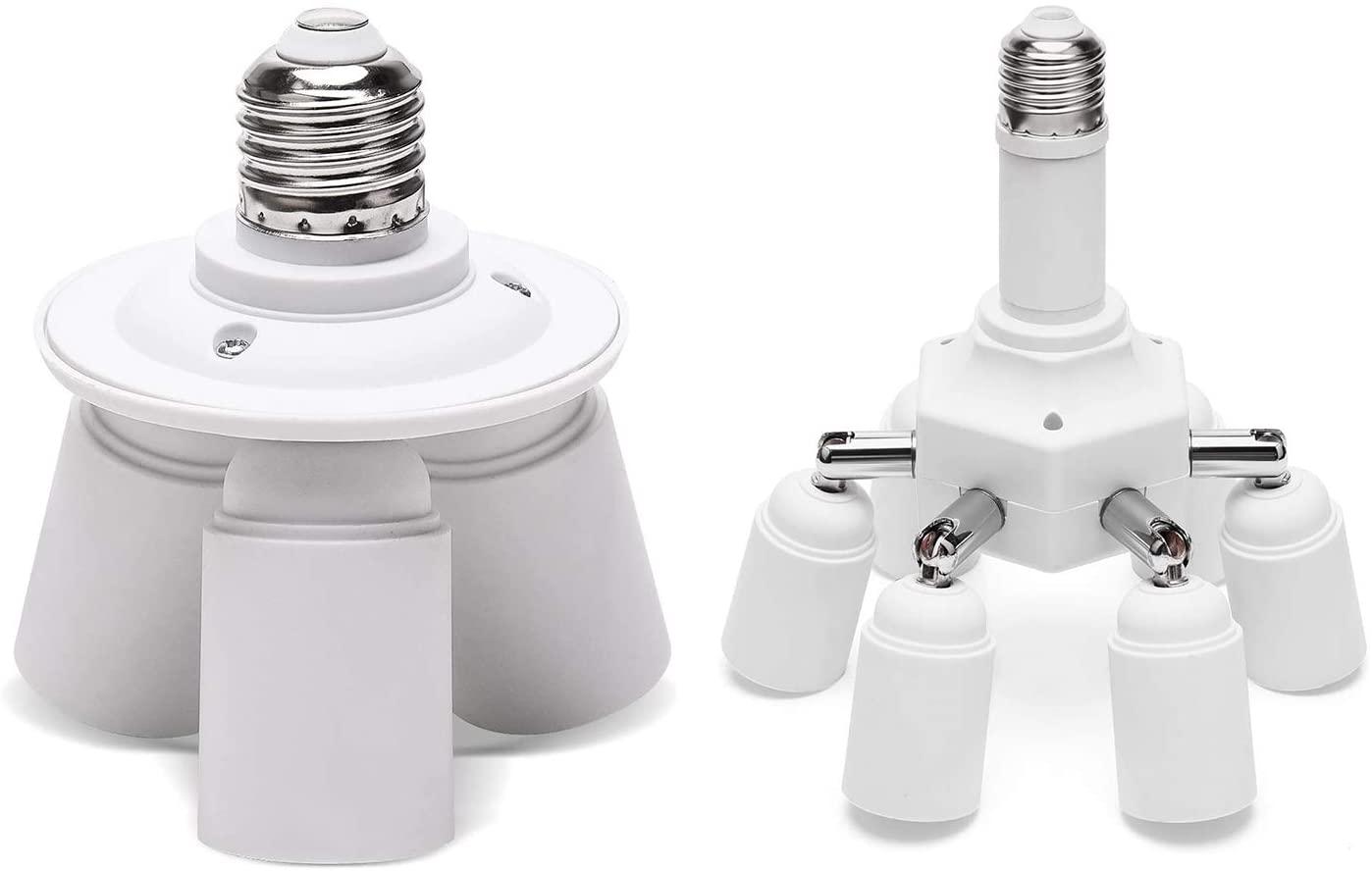 JACKYLED Light Socket Splitter 3 in 1 7 in 1 E26 E27 Base Adapter Converter Bulb Adapter