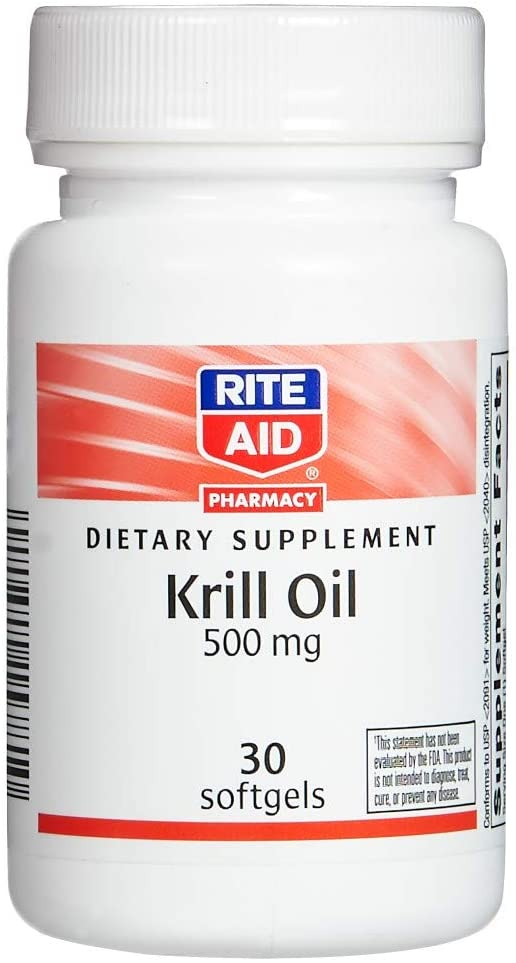 Rite Aid Krill Oil Softgels, 500 mg - 30 Count | Omega 3 Supplement | Supports Heart Health