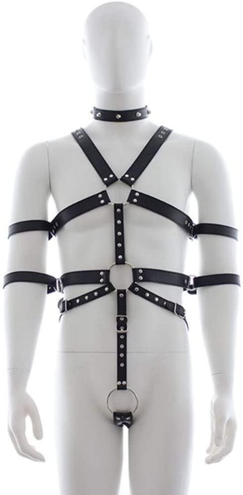XANGLO Erǒtíc PU Body Harness Male Bondage Exposed Ṡѐxy Costume Arm Restraint Strap Cọuples Flírt Fetish BdS-M S-M Ǎd-ULT Game Ṡěx Tǒy