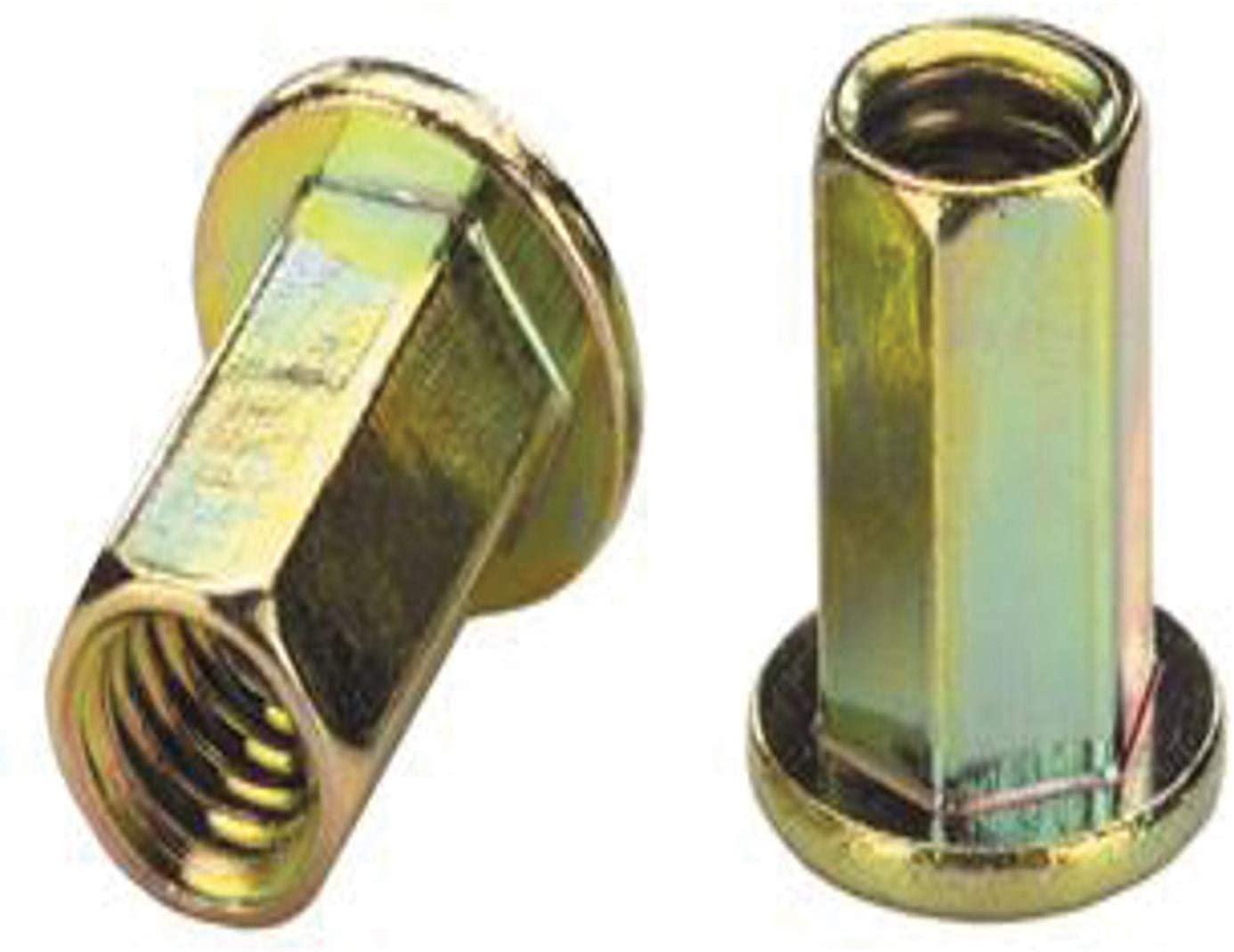 AES25H145ZYR, RIVETNUT, 1/4-20 (.085-.145 GR) Full-Hex Body, LG FLNG HD, Steel, Zinc YLW (100 PK)