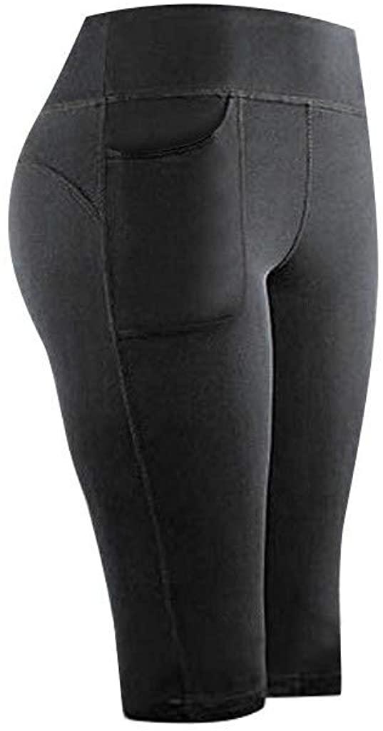 haoricu Women's Tummy Control High Waist Capri Leggings Yoga Pants with Pockets
