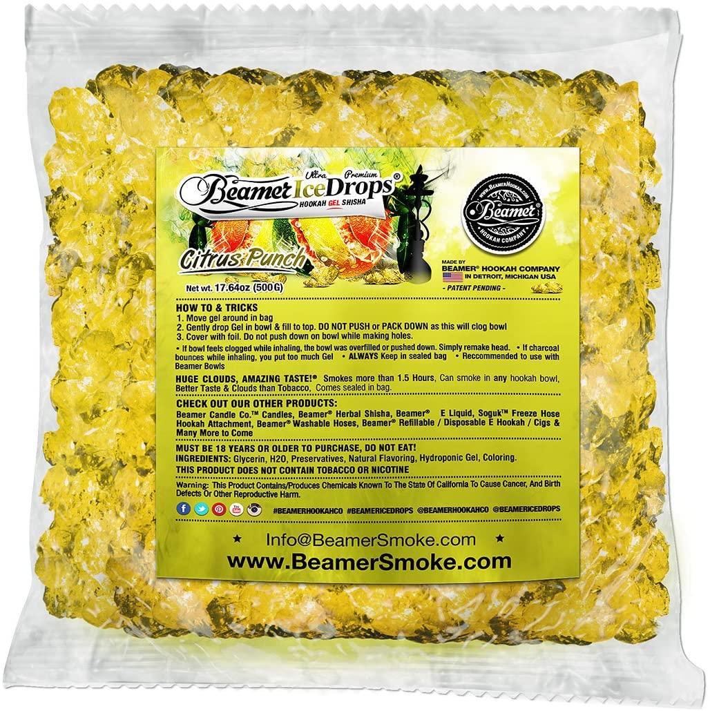 Citrus Punch 1000G Ultra Premium Beamer Ice Drops Hookah Shisha Smoking Gel. Each Bowl Lasts 2-4 Hours! USA Made, Huge Clouds, Amazing Taste! Better Taste & Clouds Than Tobacco!