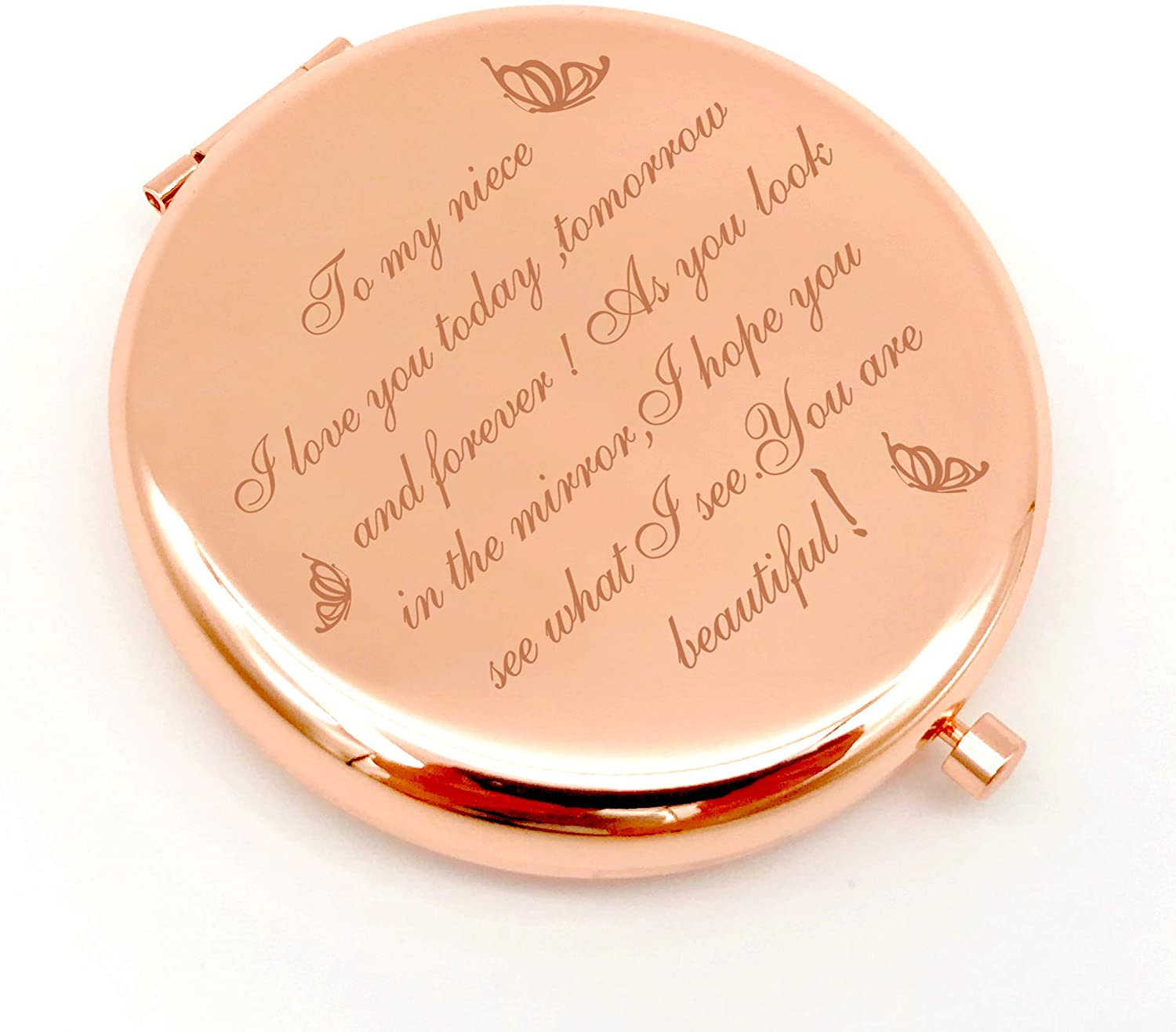 Warehouse No.9 Niece Gifts from Aunt Uncle, Travel Pocket Cosmetic Engraved Compact Makeup Mirror for Niece Birthday Christmas Graduation Cosmetic Mirror Gifts