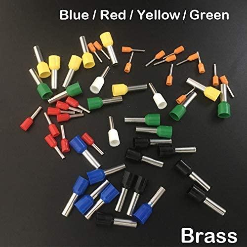 Onvas E2518 E4009 E4012 E4018 Blue Yellow Red Green Brass Pin Insulated Sleeve Cold Press Connector Ferrule Cord End Crimp Terminal - (Color: Blue, Pins: 400Pcs E4009)