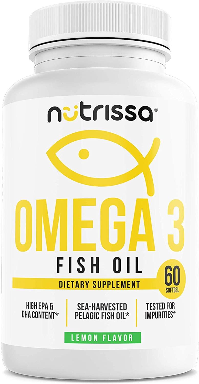 Omega-3 Wild-Caught Fish Oil Dietary Supplement - 1200 Mg DHA & EPA Softgels, Natural Brain Support & Wellness Pills, No Fillers, for Men & Women, Lemon Flavor, 60 Capsules