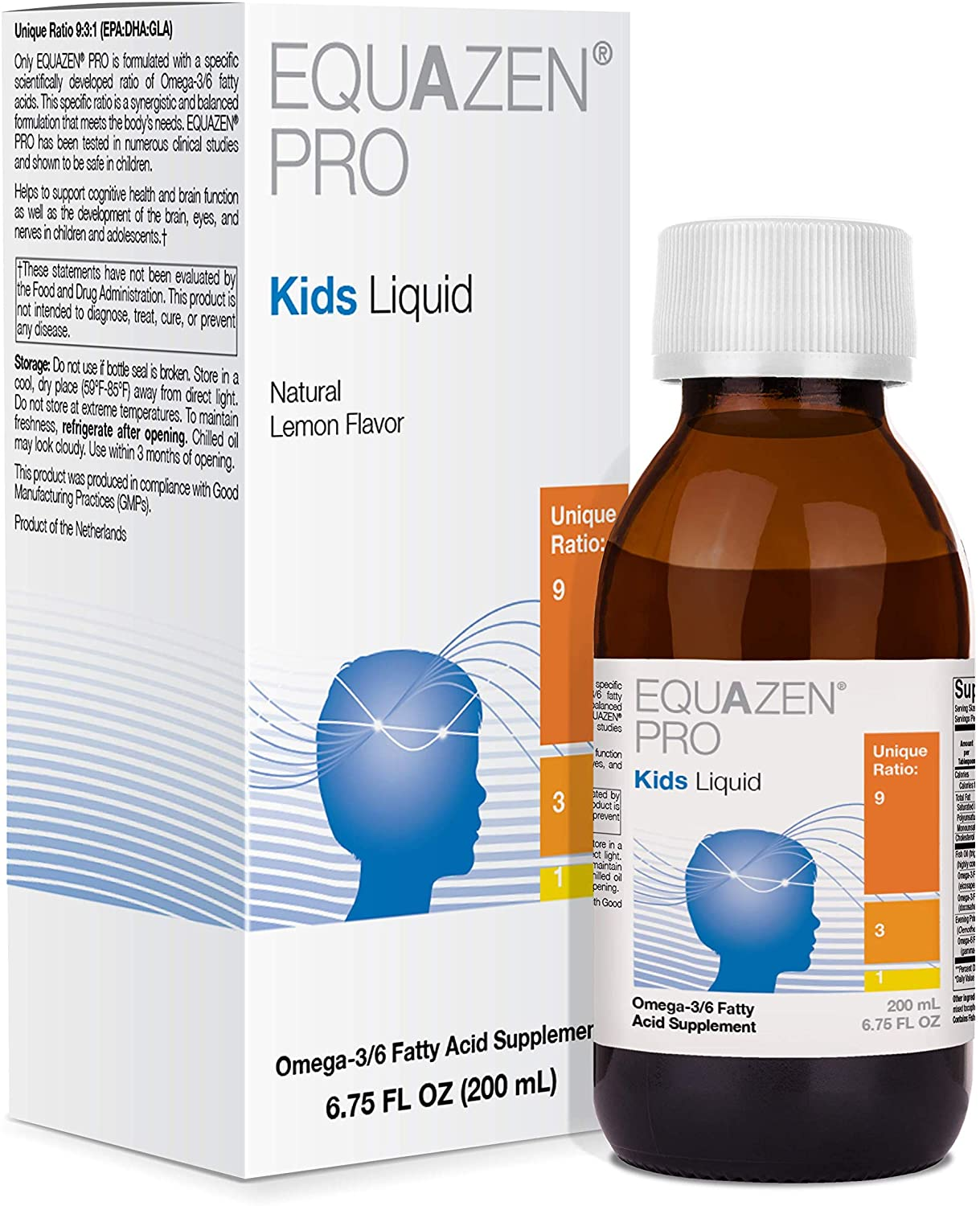 Fish Oil for Kids - EQUAZEN PRO Kids Liquid Omega 3 6 Fish Oil with EPA & DHA (6.75 Fluid Ounces)