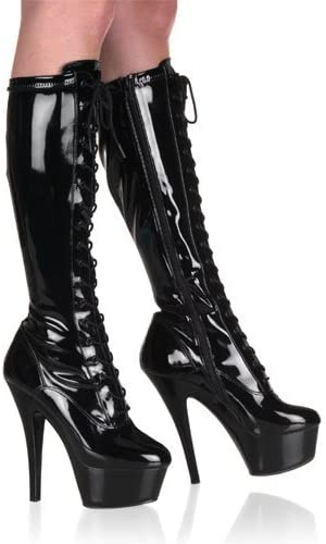 Pleaser Women's Kiss 2023 Boot,Black,7 M