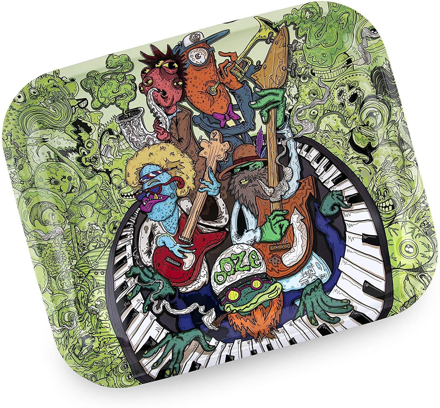 Ooze Premium Metal Rolling Tray - (The Band Jam) - Large - 14