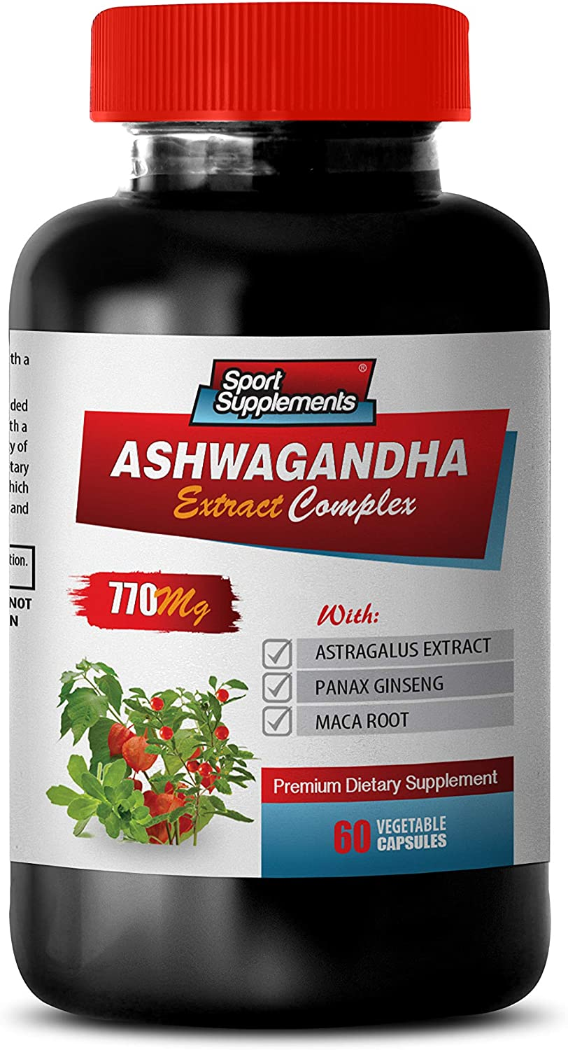 Mind Support Supplements - ASHWAGANDHA Extract Complex 770MG - Premium Dietary Supplement - ashwagandha Capsules for Women - 1 Bottle 60 Vegetable Capsules