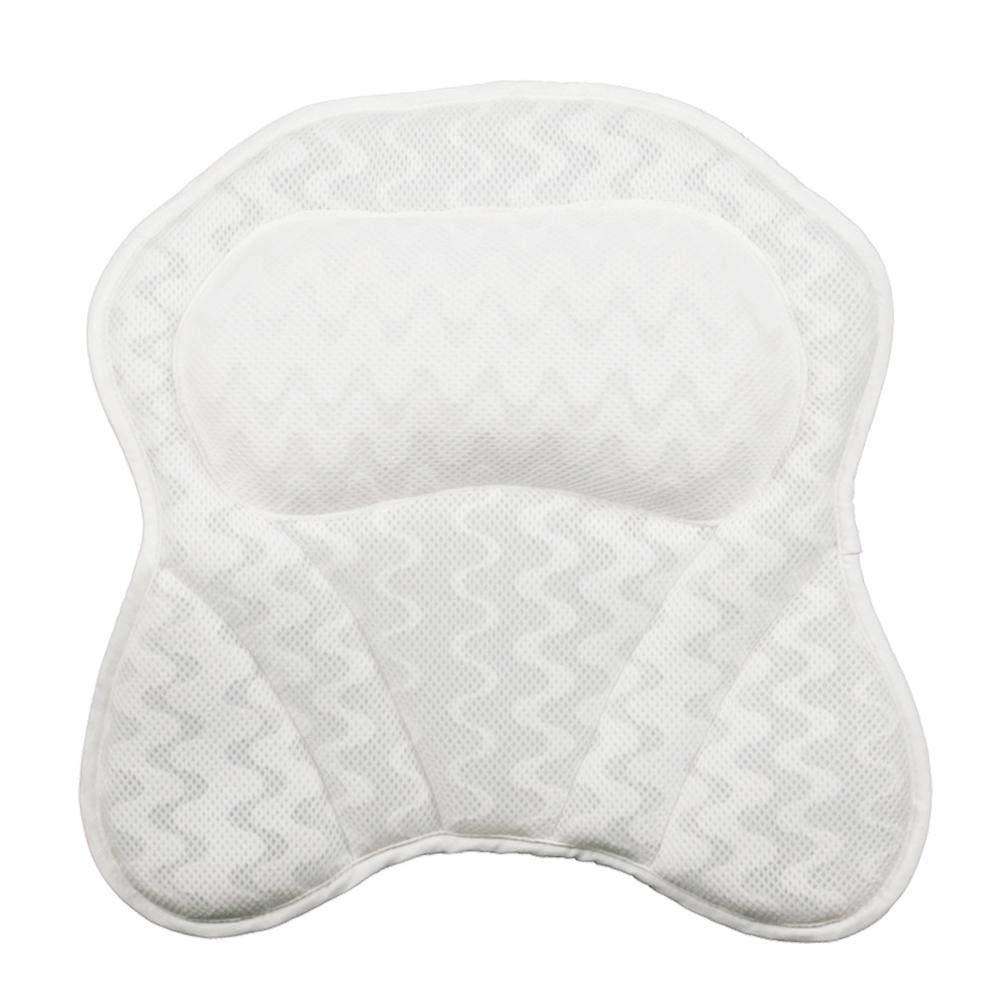 Bath Pillow Bathtub Pillow - Ergonomic Neck Support - 3D Mesh Spa Bath Pillow Bathtub Cushion, Comfortable & Quick Dry with Six Strong Grip Suction Cups for Tub