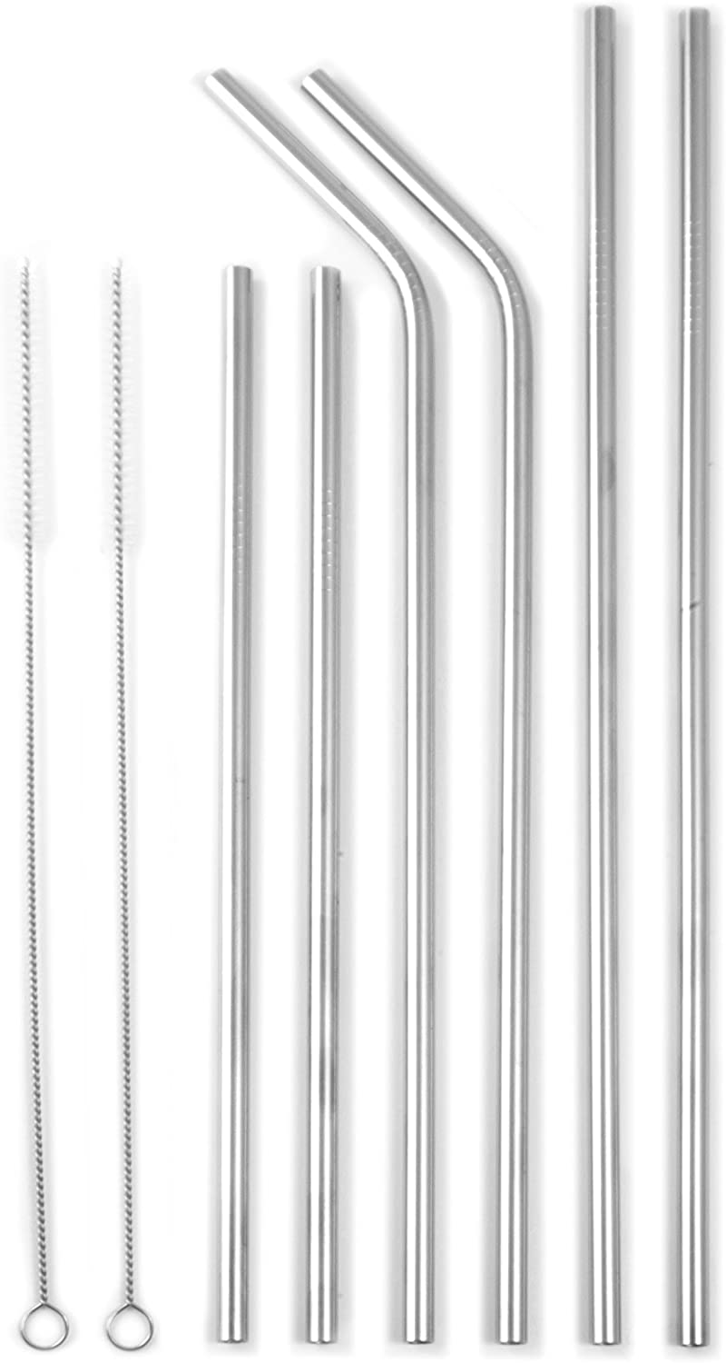 Tiki Tumblers Stainless Steel Straws with Cleaning Brush   Non-Toxic   Environmentally Friendly   Great for Smoothies, Cocktails (Assorted Set of 6)