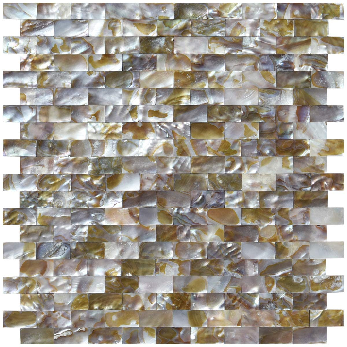 Art3d Natural Mother of Pearl Oyster Mini Brick Shell Mosaic Tile for Kitchen Backsplashes 10 Sq Ft Pack of 10