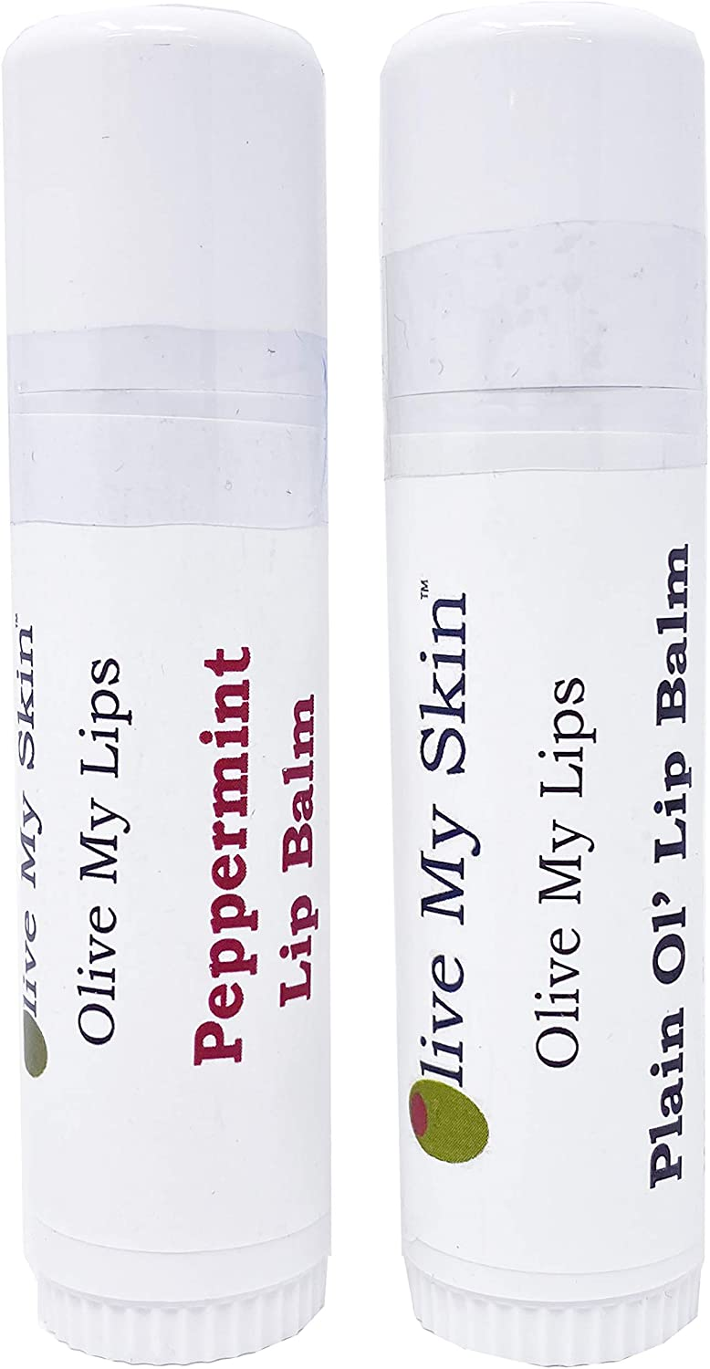 Olive My Skin Peppermint and Plain Ol' Lip Balm – ½ Oz Jumbo Sized Lip Balm - Olive Oil Based, Artisan Made, Small Batch, Paraben-Free