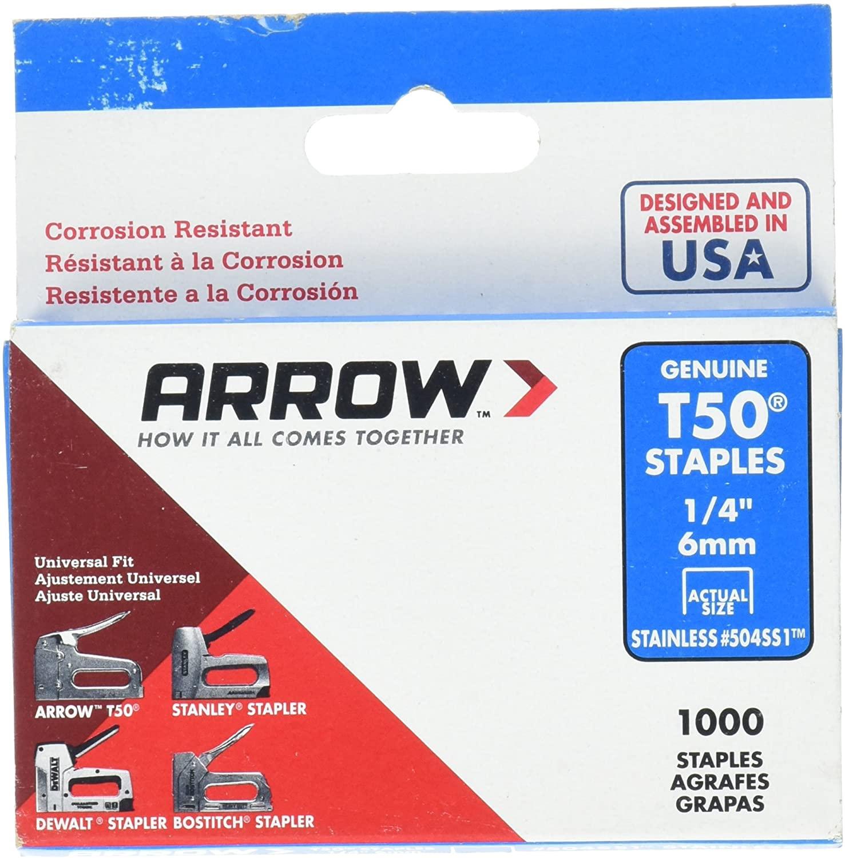 Arrow Fastener 504SS1 1/4 in. T50 Stainless Steel Staples