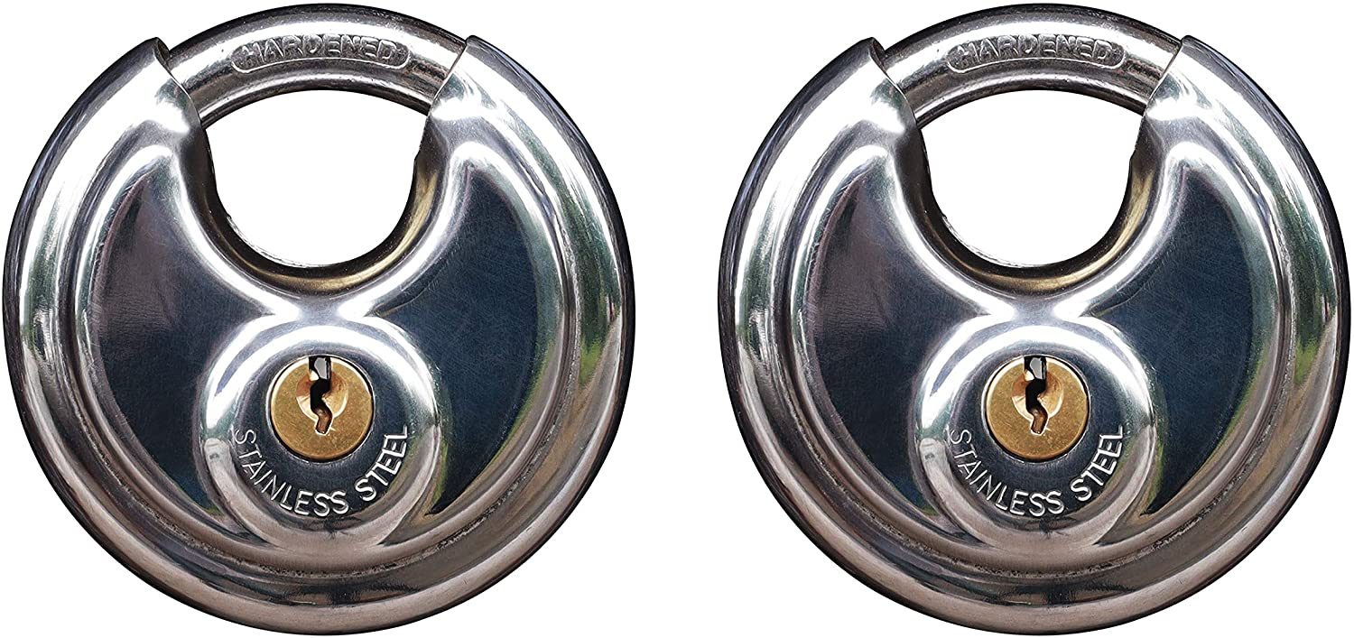 Disc keyed Padlock, 2-3/4 inch/70mm Wide Lock Body, 2 Pcs Discus Locks Stainless Steel Round Padlock, Each Padlock maches its own Keys (2 Pack)