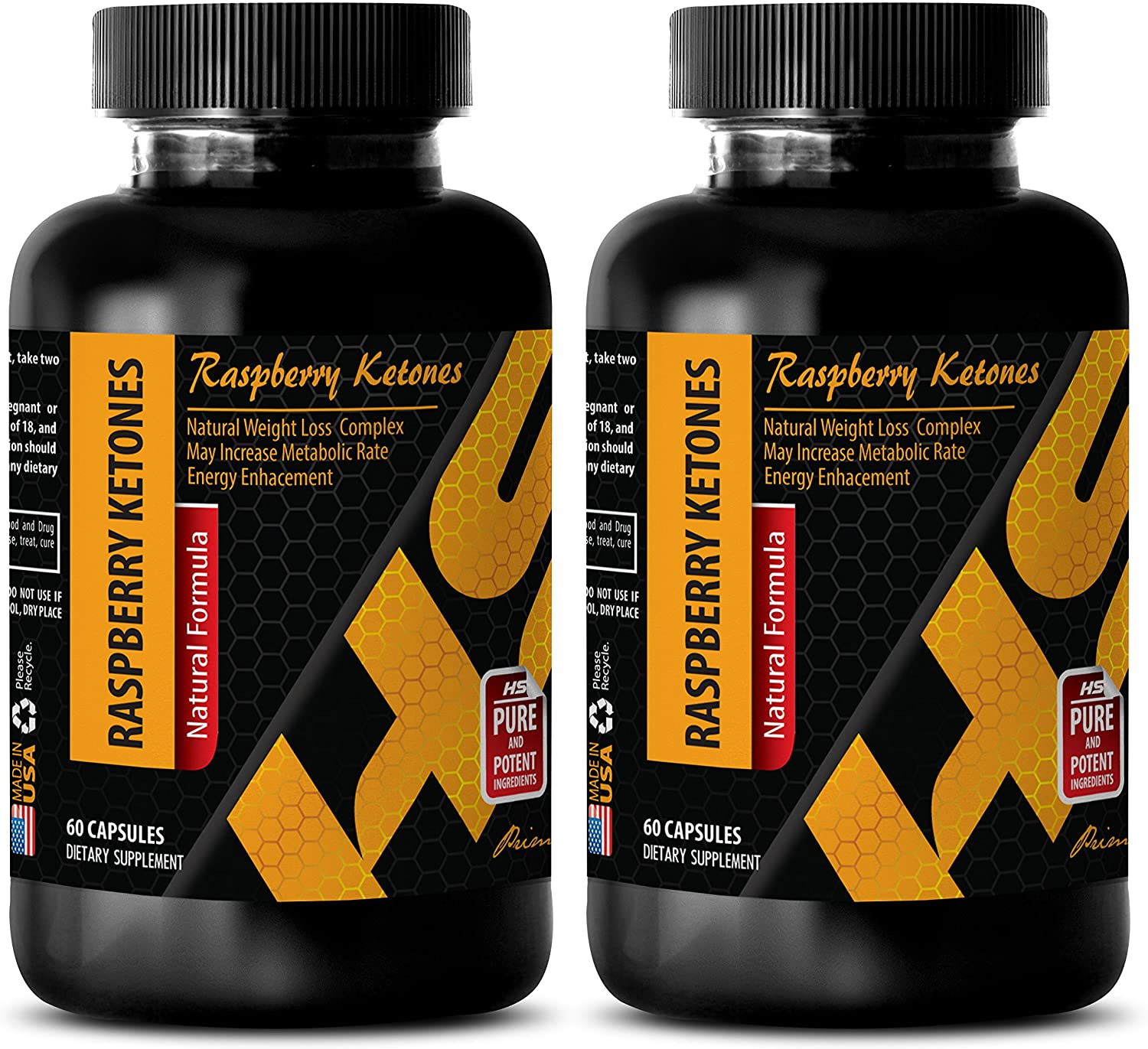 Metabolism and Energy Booster - Natural Raspberry Ketones Lean 1200MG - African Mango Extract - 2 Bottle (120 Capsules)