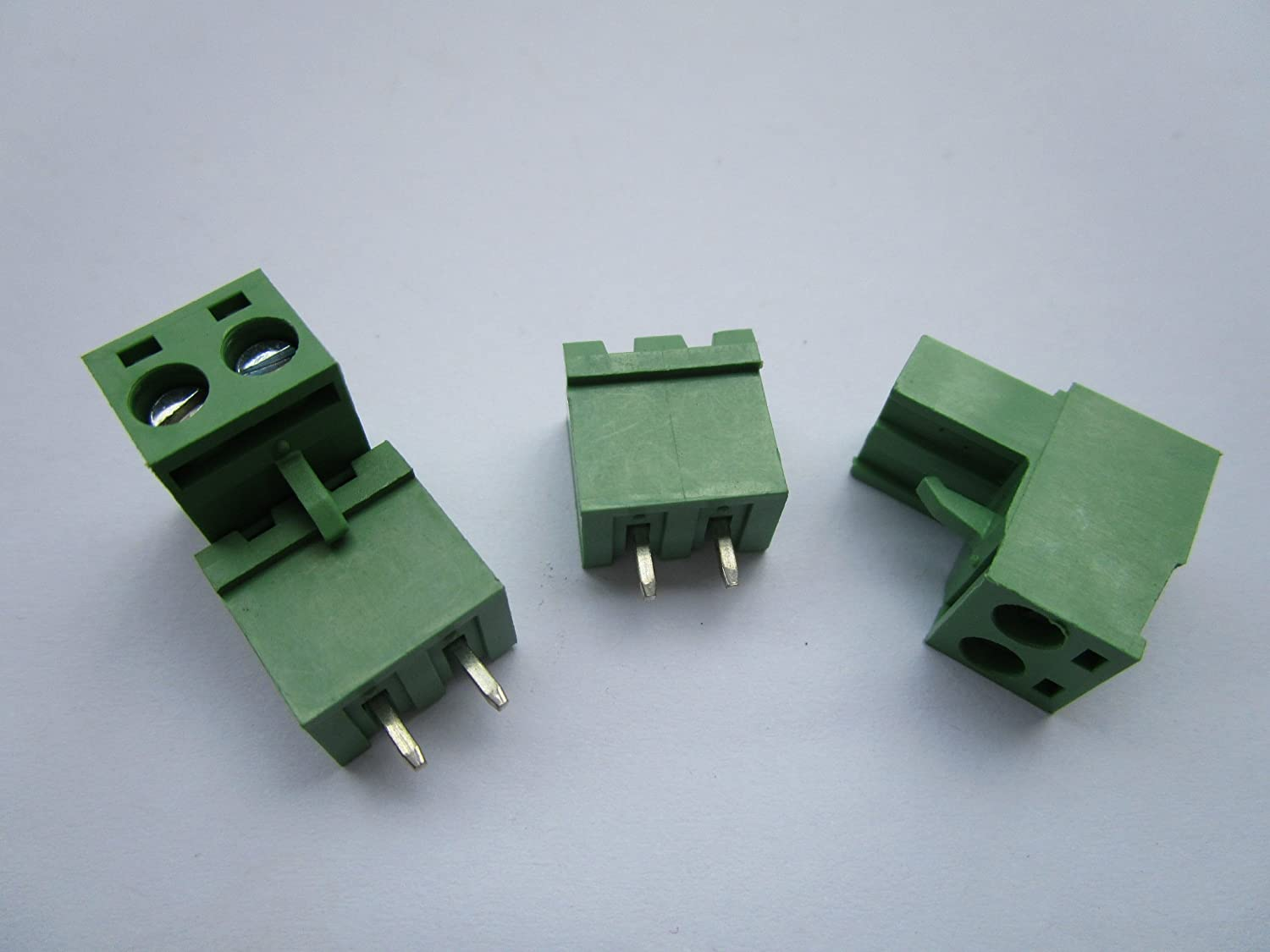40 Pcs Close Straight 2 Pin/way Pitch 5.08mm Screw Terminal Block Connector Green Color Pluggable Type with Straight Pin