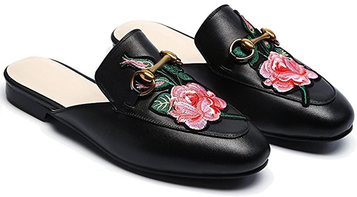 LaRosa Womens Leather Oxford Backless Slipper Slip-ons Loafer Shoes (6.5, Black1)