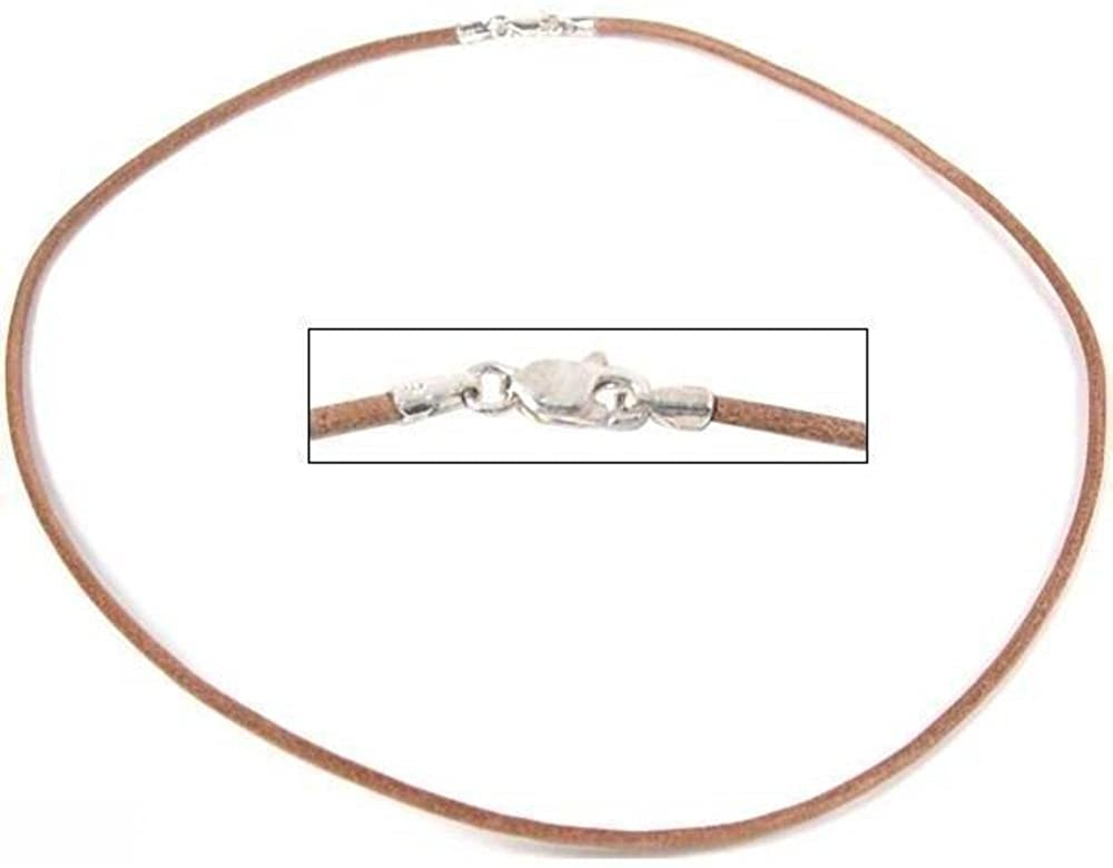 FindingKing Leather Cord Necklace Brown 16
