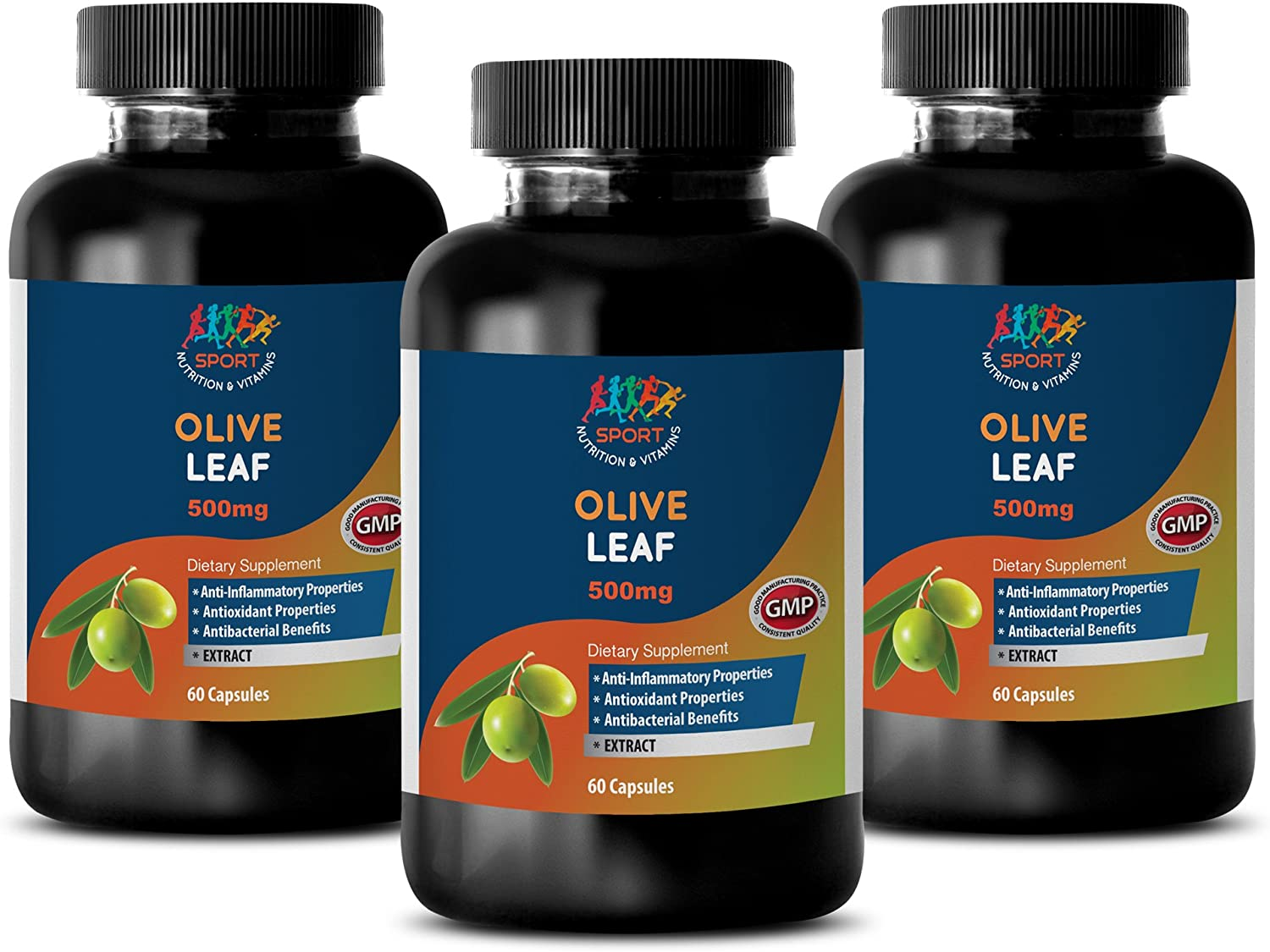 Immunity Booster Pills - Olive Leaf Extract 500mg - Supplements antioxidants - 3 Bottles 180 Capsules