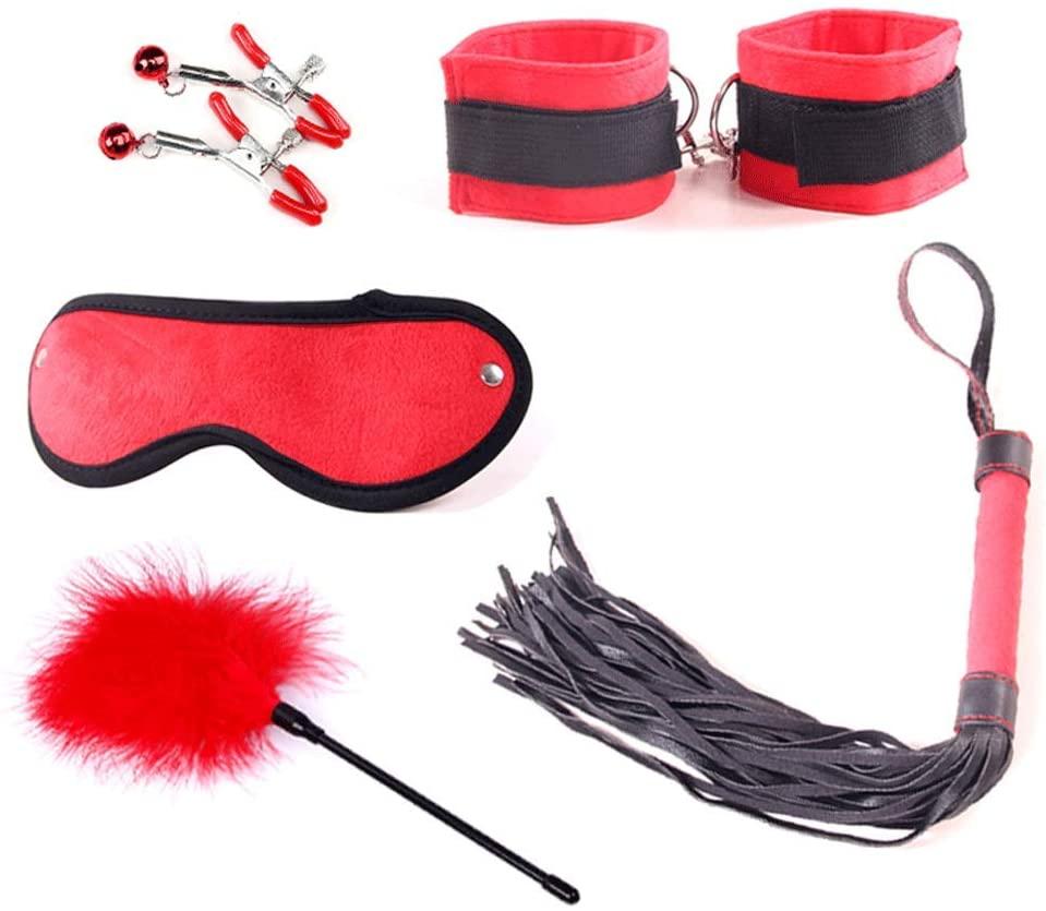 LITI-B-DS-M Re-straints Sex Toys Bondage Restraints Set Fetish Bed Restraints Kits for Beginners S-M Adult Games Cuffs Gag Blindfold - 133-LITI