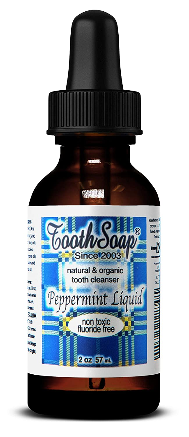 Tooth Soap – Peppermint Liquid – 2 oz – All Natural, Fluoride-Free Tooth & Gum Cleaner – Enhanced with Organic Coconut & Extra Virgin Olive Oil with Essential Oils
