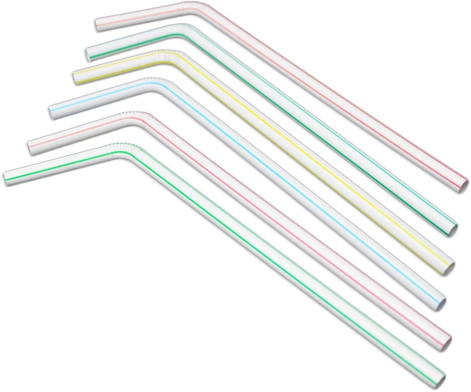 Qsir 8245mm Wholesale Disposable Plastic Straws Long Colored Stripe Curved Straws Cola Drink Straws 200 Servings Each