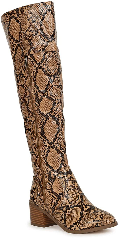 Womens Animal Print Embossed Zipper Over The Knee Stacked Block Boot SH53