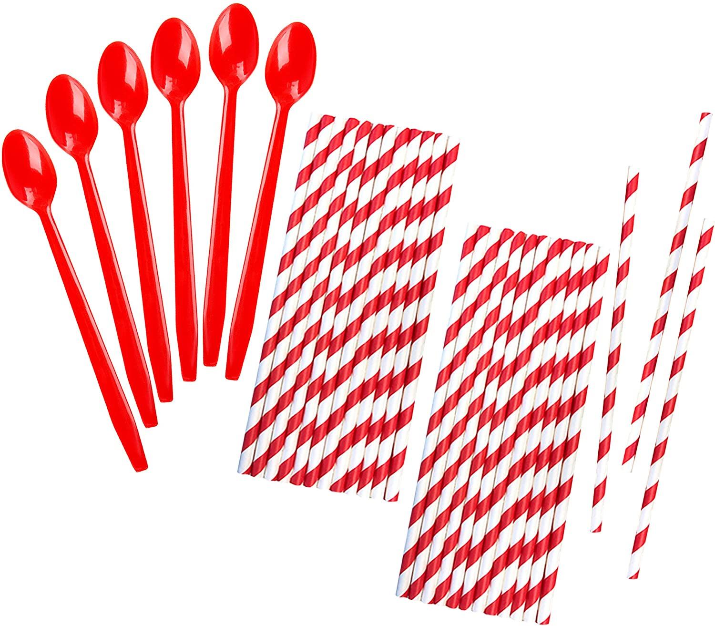Red Plastic Sundae/Soda Spoons - 8 Inch - Red Paper Straws - 50 Each