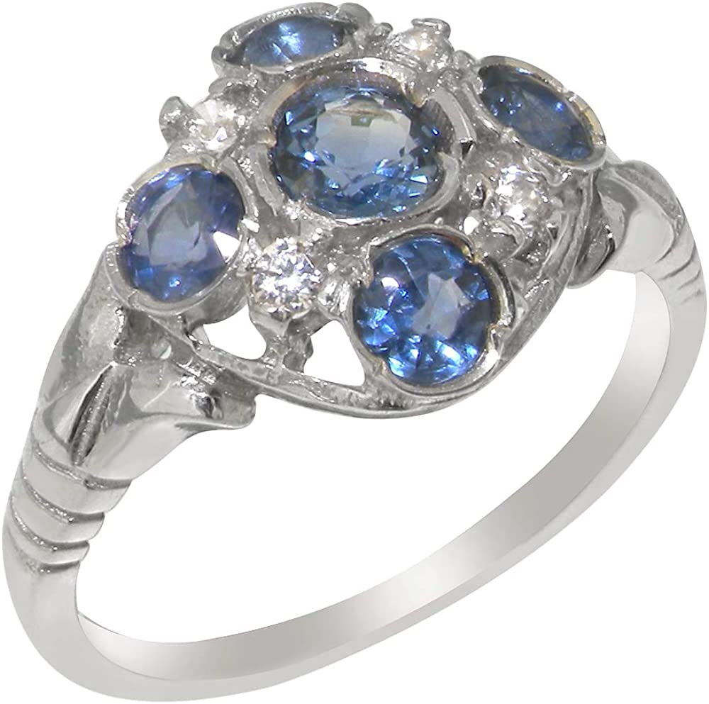 Solid 14k White Gold Natural Sapphire & Cubic Zirconia Womens Cluster Ring - Sizes 4 to 12 Available