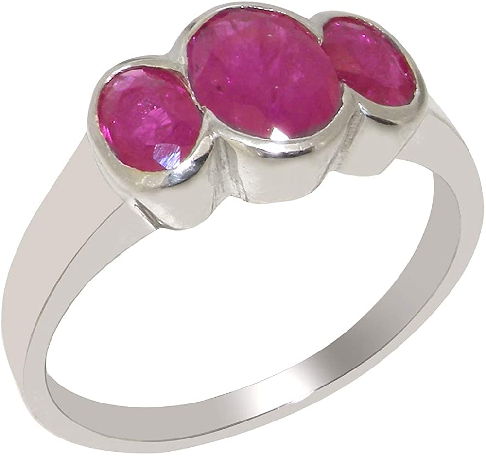 Solid 14k White Gold Natural Ruby Womens Trilogy Ring - Sizes 4 to 12 Available