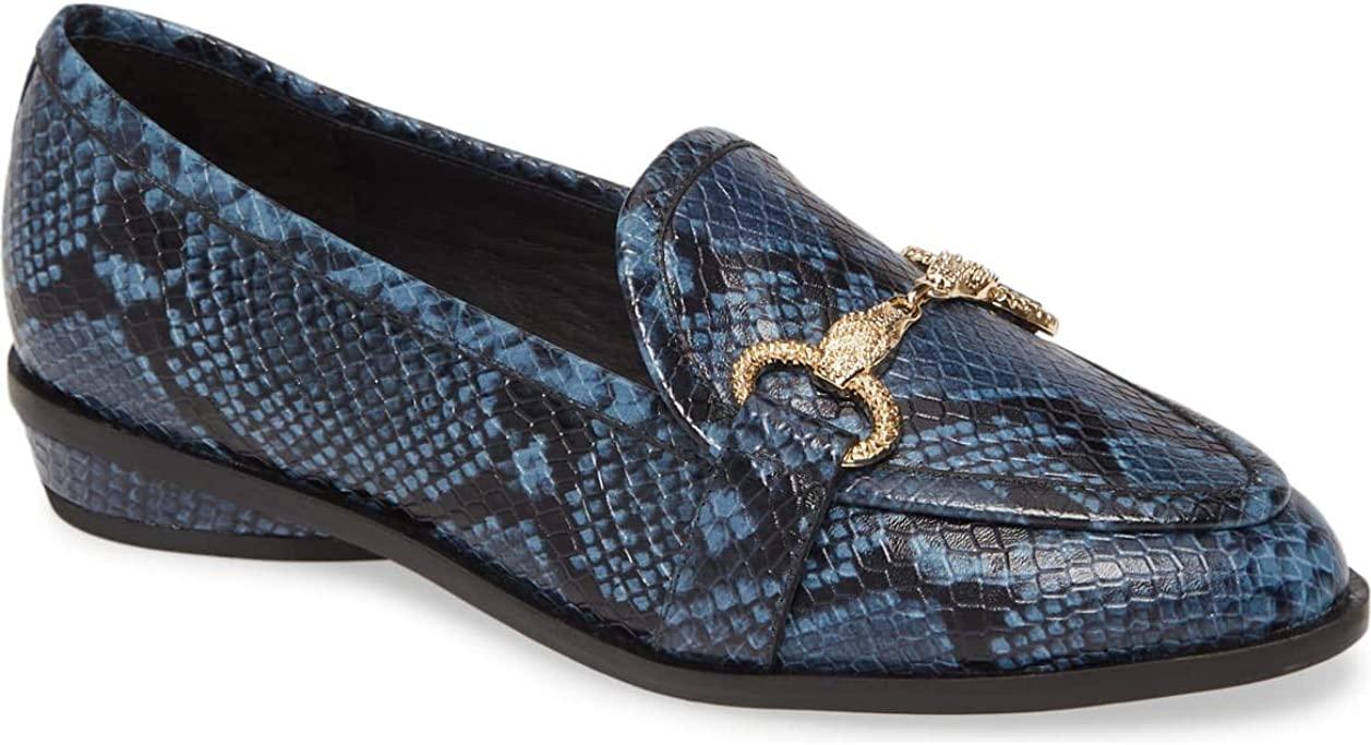 Cecelia New York Fenton Loafer Indi Blue Snake Gold Buckle Horse Bit Flats