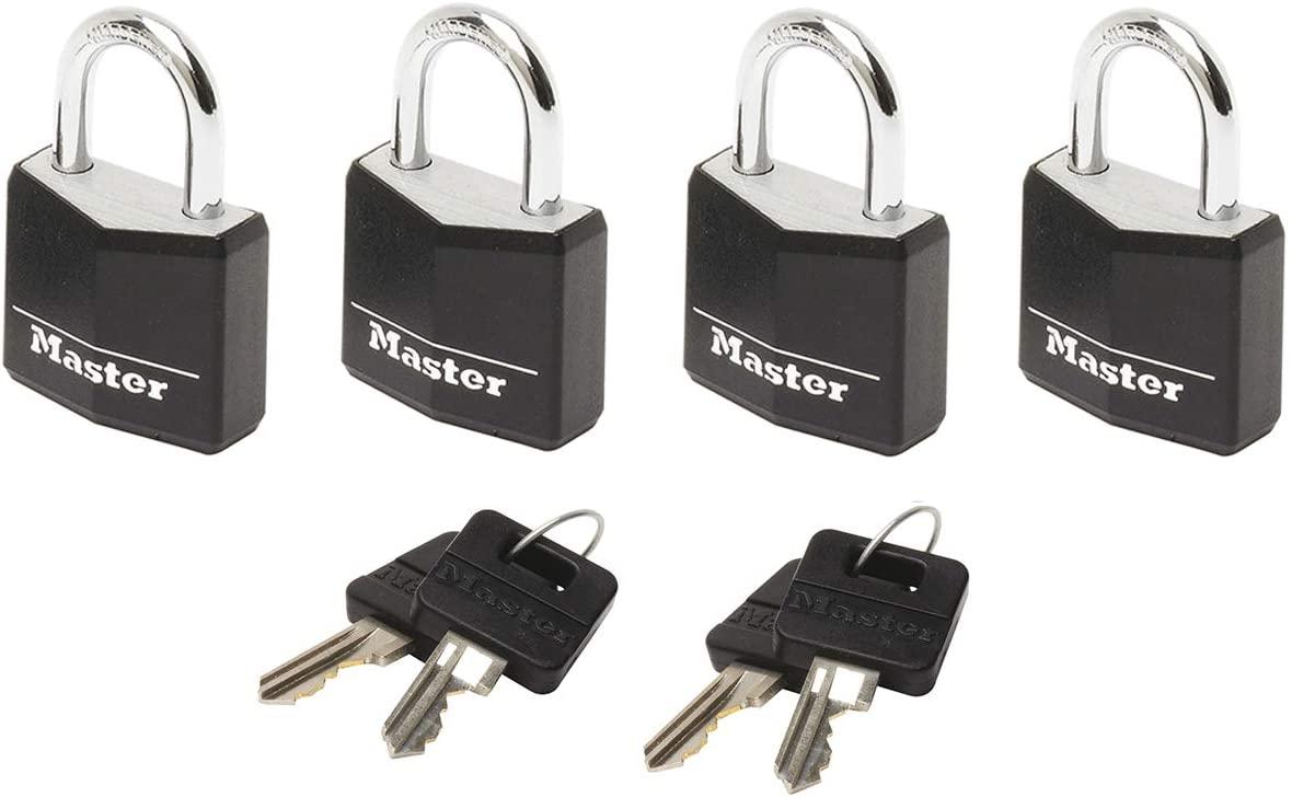 Master Lock 9120EURQNOPBLK 20mm Black Covered Aluminium Padlocks Four Pack Keyed Alike