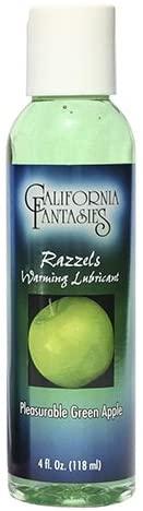 California Fantasies Razzels Flavored Warming Lubricant, 4 oz, Green Apple