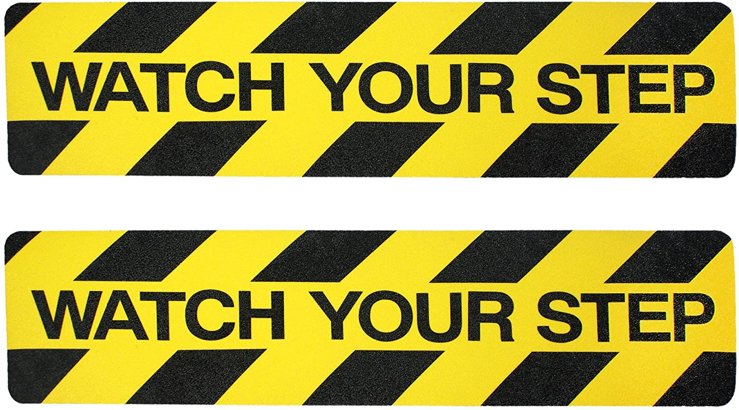 Watch Your Step Sign. 2 Pack Non-Slip Stair Warning Caution Tape Treads.| 6 X 24 Self-Adhesive Black/Yellow Safety Floor Decal ● Anti Slip Tape Stickers for Workplace/Home. Safety Tape Stair Sign