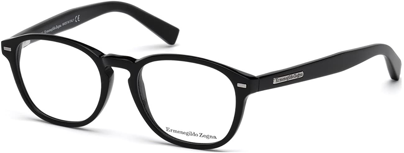 Ermenegildo Zegna EZ5057 - 001 Eyeglass Frame shiny black frame w/ Clear Demo Lens 49mm