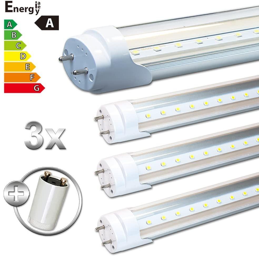 LEDVero T8/G13SMD-LED Transparent Tube 120cm Warm White Cold White Neutral, Cold White, 3 Items