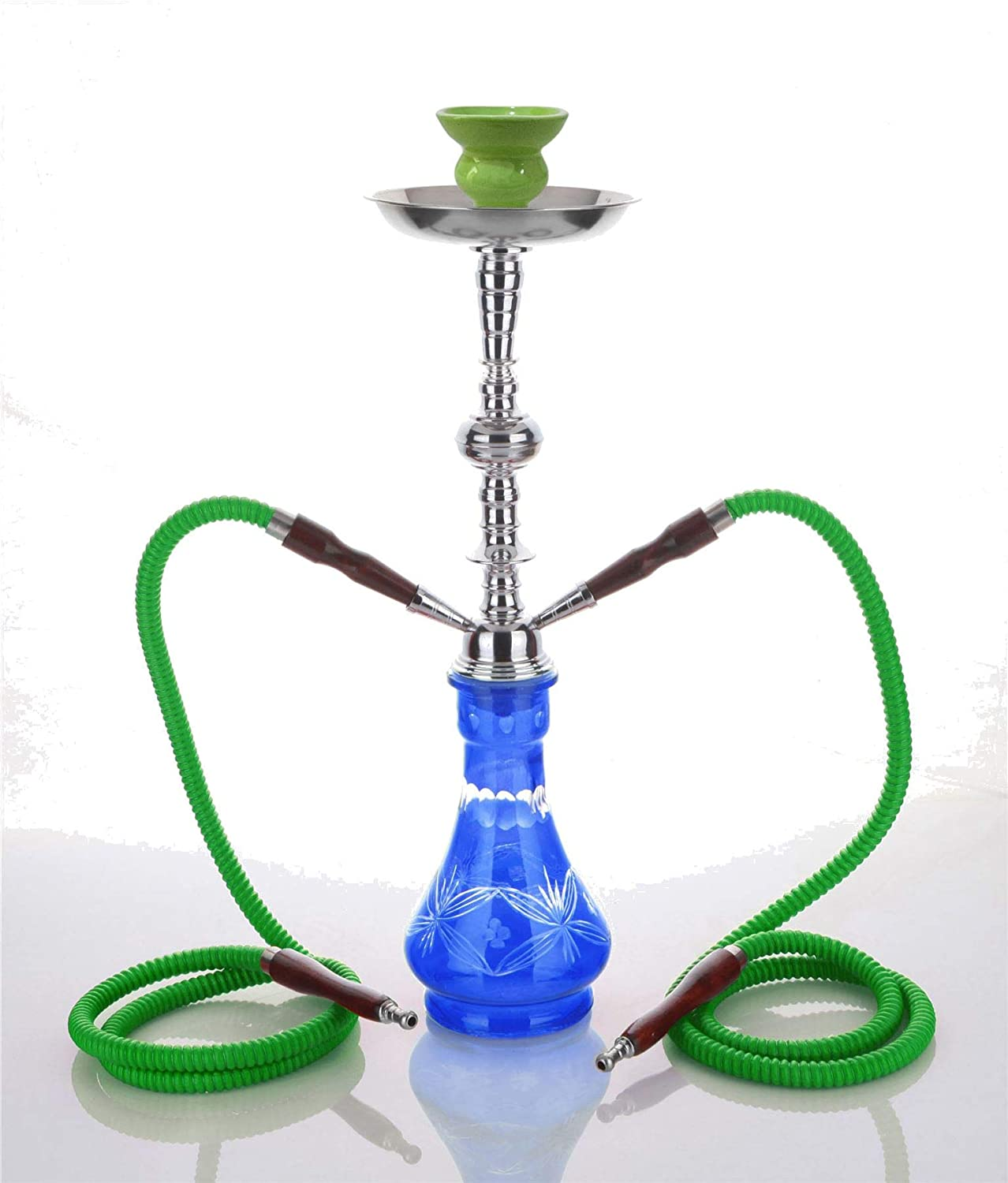 Medium Green 2 Hose hooka - no Tobacco no Nicotine Shisha Pipe Smoking sheesha - no Tobacco no Nicotine