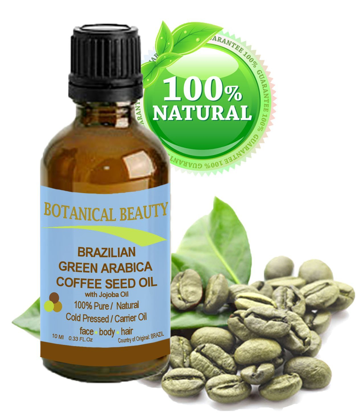Brazilian GREEN ARABICA COFFEE SEED OIL. 100% Pure / Natural Cold Pressed Carrier Oil for Skin, Hair, Lip and Nail Care. Wrinkle Reducer, Skin Tone /Lift, Anti- Puffiness / Dark Circles, Anti Cellulite. (0.33 fl.oz-10ml.)