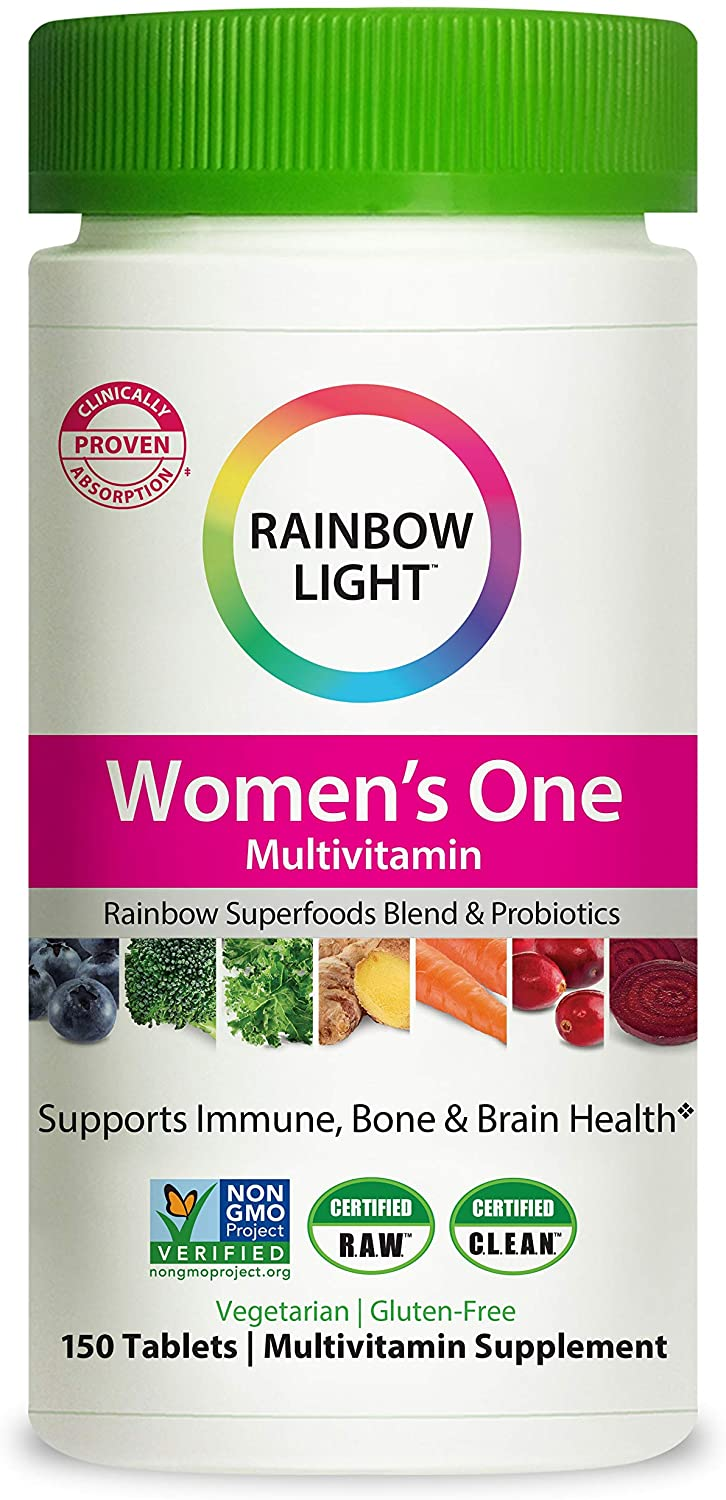Rainbow Light Women�s One Multivitamin for Women with Vitamin C, Vitamin D, & Zinc for Immune Support, Clinically Proven Absorption of 7 Key Nutrients, Non-GMO, Vegetarian & Gluten Free, 150 Tablets