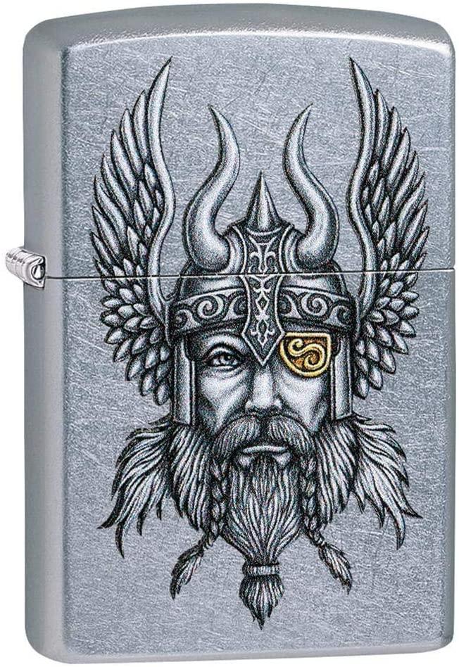 Personalized Custom Message Engraved on Back Viking Warrior Design Indoor Outdoor Windproof Zippo Lighter
